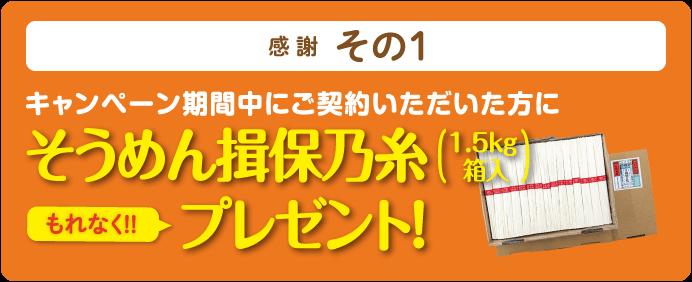 そうめん揖保乃糸(1.5kg箱入)もれなくプレゼント!